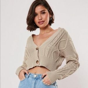 Missguided Cropped Cable Knit Cardigan